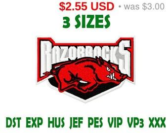 Sale 15% Arkansas Razorbacks logo embroidery design / embroidery designs / INSTANT download machine embroidery pattern