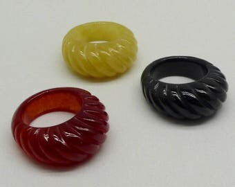 Three Solid Jade Lady's Dome Style Ring's