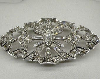 Antique 1930's Platinum Art-Deco Diamond Brooch/Pin