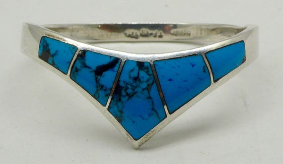 Vintage Turquoise & Sterling Silver Hinged Bracelet by Mexico TF-49