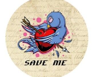 """pretty cabochon """"save me"""", 25mm"""