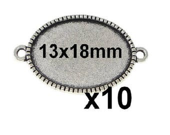 10 connectors for cabochons 13x18mm
