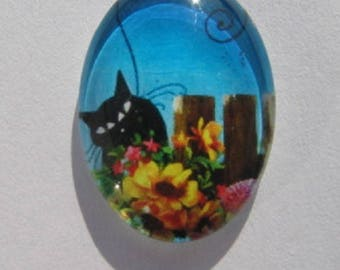 Cat in flowers cabochon 18x25cm