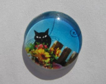 Cat in flowers 20mm cabochon