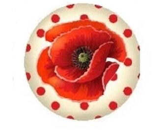 poppy on polka dots 20mm cabochon