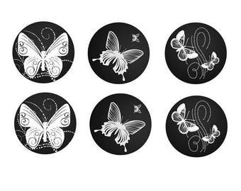 12mm, 3 pairs butterfly theme