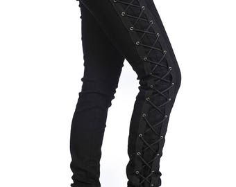 Banned Gothic Steampunk Black Skinny Jeans Pants Corset Side Rockabilly