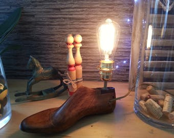 Light wood-shoe - light - vintage - foot-bulb filaments - rustic - french