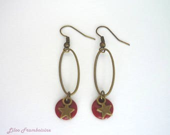 Sequin red enamel and bronze earrings, Star