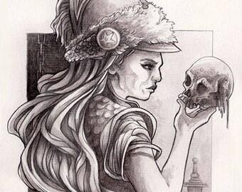 Original A5 - goddess Athena portrait