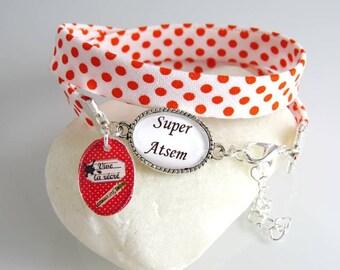"""super""Bracelet with orange-red dots and her Locket""pre-school vivid recess"""