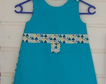 "Girl summer dress size 6 ""Triangles"""