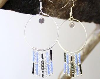 Blue hoop earrings / silver plated