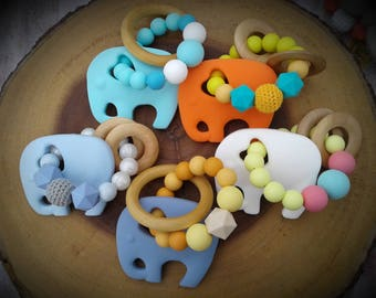 Elephant Teether with Rings