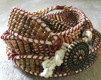 Navajo inspired leather wrap bracelet