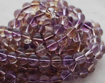 "High Quality Grade A Natural Ametrine (purple) Semi-precious Gemstone Round Beads - 4mm, 6mm, 8mm, 10mm sizes - 16"" strand"