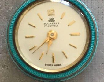 Vintage Bucherer Gillioche Blue Enamel 17 Jewels Swiss Pendant Watch