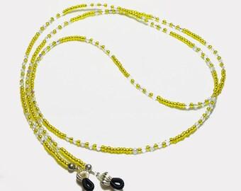Lemon Yellow Crystal Beaded Eyeglass Chain