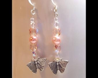 Antique Rose Pink Sterling Silver Butterfly Dangle Earrings