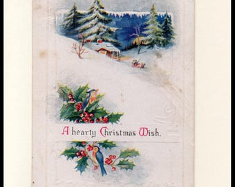 A Hearty Christmas Wish Vintage Greeting Card