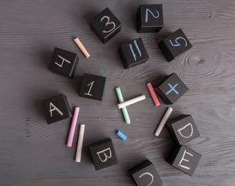 ABC Block, Educational present, Learning toy, Letter Wooden Blocks, Kid's Chalkboard Blocks Set of 12 Writable Building Blocks