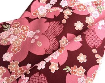 fabric 1 Japanese pattern 110x50cm sakura flower print patchwork bag blue stitching