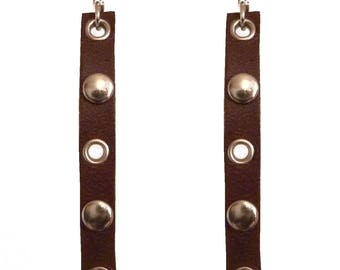 Earrings ethnic Brown rivets leather steampunk style silver
