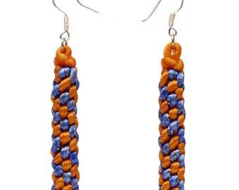 Drop earring style orange and blue scoubidou yummies