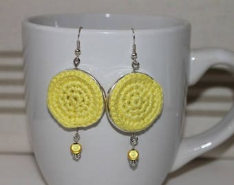 Earrings silver tone and lemon yellow crochet