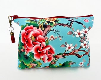 Gifts for her, Canvas Wash bag, Cherry bloosom, chinoiserie, humming birds, travel bag, cosmetic bag, zip bag.