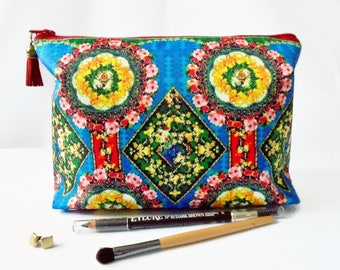 Gifts for her, Wash bag, eclectic mix, travel bag, cosmetic bag, zip bag, make up bag.