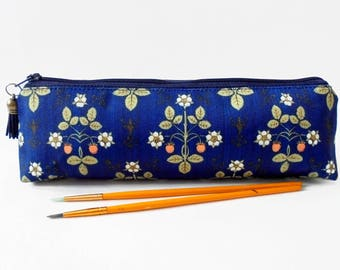 Art gifts, Victorian inspired, navy blue strawberry, mascara bag, pencil pouch, brush bag, art gift, student gift, teacher gift, pen pouch.