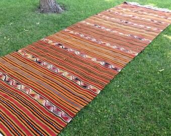 Turkish kilim rug, Vintage kilim, Handmade kilim, Kilim, Area kilim, Wool kilim, Kilim rug/FREE SHİPPİNG! 380 cm x 146 cm = 12,3 ft x 4,7 ft