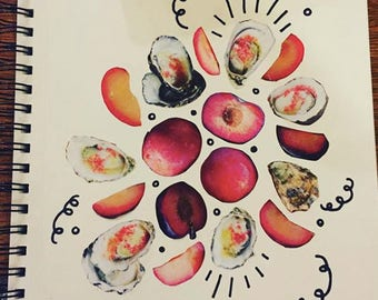 Original Oysters and Plums Collage