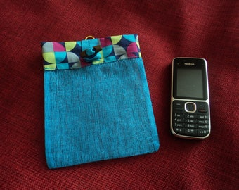 Blue turquoise hanging openwork cotton phone case.
