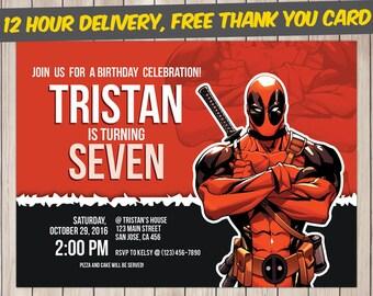 Deadpool Invitation, Deadpool Birthday, Deadpool Birthday Invitation, Deadpool Party, Deadpool Invite, Deadpool Printable