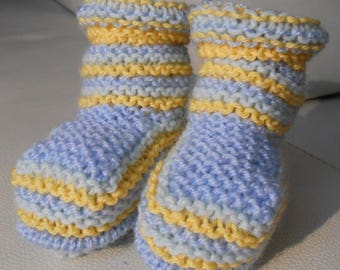 6 month baby booties knitted yellow green blue striped boots style