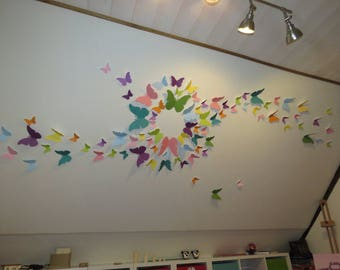Flight of butterflies in MULTICOLOR - LOT of 100 BUTTERFLIES - scrapbooking paper-