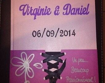 Guestbook for wedding theme bustier and Ribbon