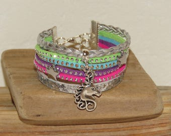 "Cuff Bracelet, MULTISTRAND, rose, purple, pink, green, glitter, suede, for teens ""Unicorn"""