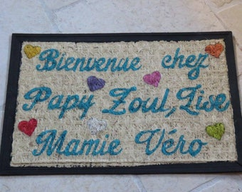 """Welcome to Grandma and Grandpa!"" personalized doormat, gift for Grandma and Grandpa, turquoise blue, multicolor hearts"