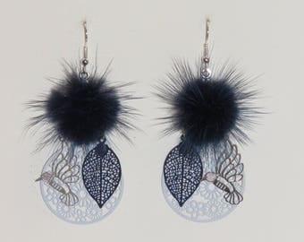 Tassel earrings Navy Blue fur, prints, birds, leaves, Flower Earrings, Navy Blue Earrings, blue, silver