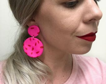 Polymer Clay Earrings - 'Hot Pink and Red'