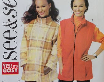 Butterick See and Sew B5698 Sewing Pattern, Misses Jacket, Misses Vest, Size S, M, L, OOP