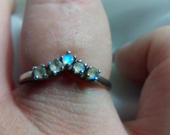 Beautiful Genuine Moonstone Engagement Ring Promise Ring Chevron, Curved or Straight Design June Birthstone Made to Order