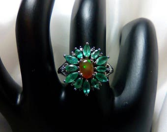 Zambian Emerald and Ethiopian Welo Opal Sterling Silver Ring May and October Birthstone OOAK