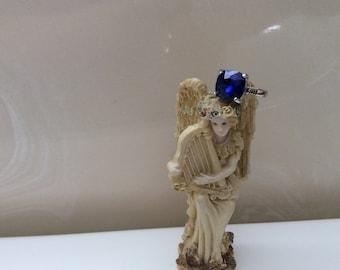 5 carat man made blue sapphire ring