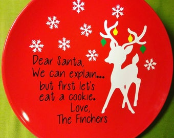 Customized Cookies For Santa Plate