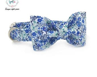 Blue Floral Springtime Flowers - Dog Collar Bow Tie and Matching Leash Set