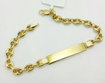 "14k Solid Yellow Gold Puffed Mariner Link Chain ID Plate Bracelet 6"" Child Baby/baby shower/birthday gift/personalized"